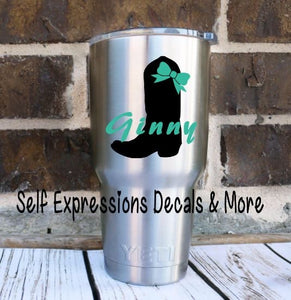 Personalized Cowboy Boot Cup Decal - Self Expressions Decals & More