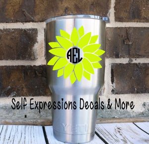 Monogram Sunflower Cup Decal - Self Expressions Decals & More