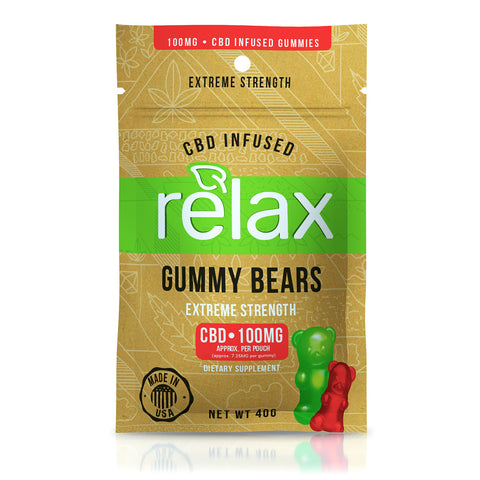 100 mg Relax Gummies - Hemp Infused Gummy Bears infused with Melatonin for sleep!