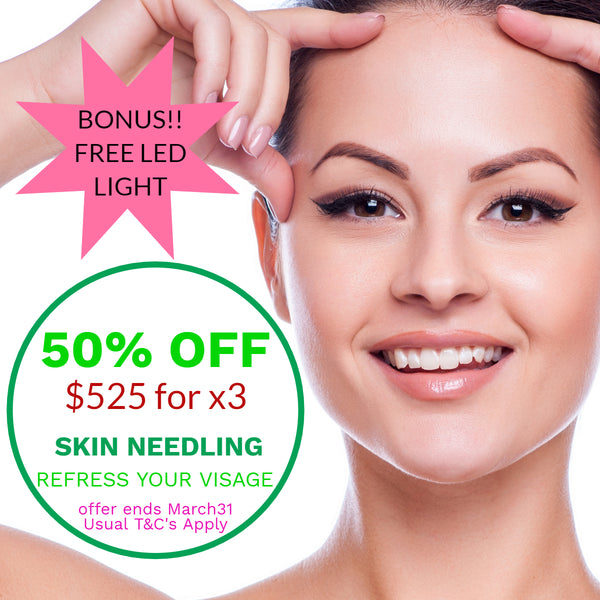 MARCH DEALS Dermapen Skin Needling 50% off - $525 for three treatments (not $1,050) receive x 3 FREE yellow, blue or red LED Light treatments!