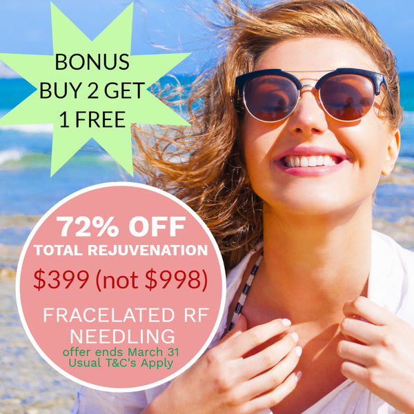 MARCH DEALS Fracelated RF Skin Rejuvenation on 1 Body area or Face, Neck or Eyes $399 (not $998) Buy 2 get 3rd voucher for FREE!