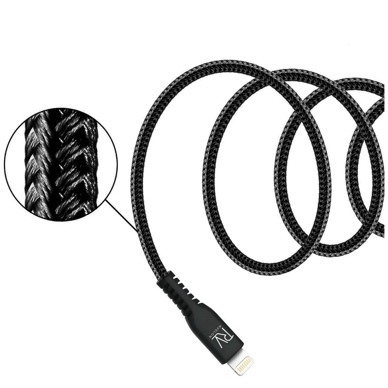 Rvelon MFi Certified USB-C to Lightning Braided Cable 1m for iPhone, iPad and iPod Black