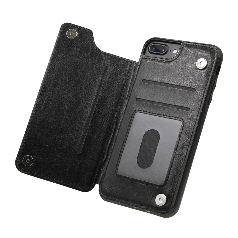 iPhone 7 /8 Plus PU Leather Wallet Case Black