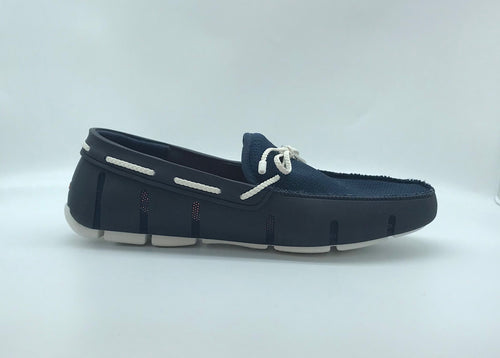 Swims Braided Lace Loafer - Navy/White