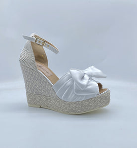 Gaimo Cressy Nova Bridal High Wedge with bow - White