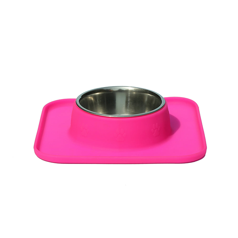 Square Silicon with Stainless Steel Pet Bowl-Hot Pink