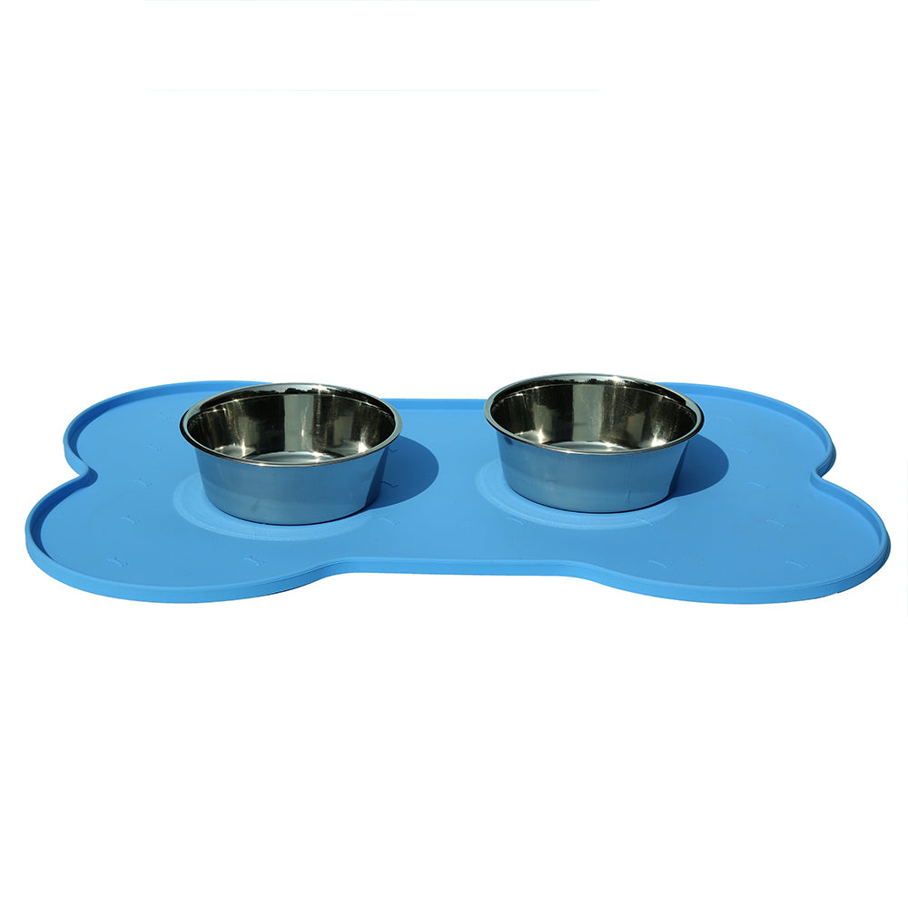 Bone Shape Silicon Rubber Mat-Blue