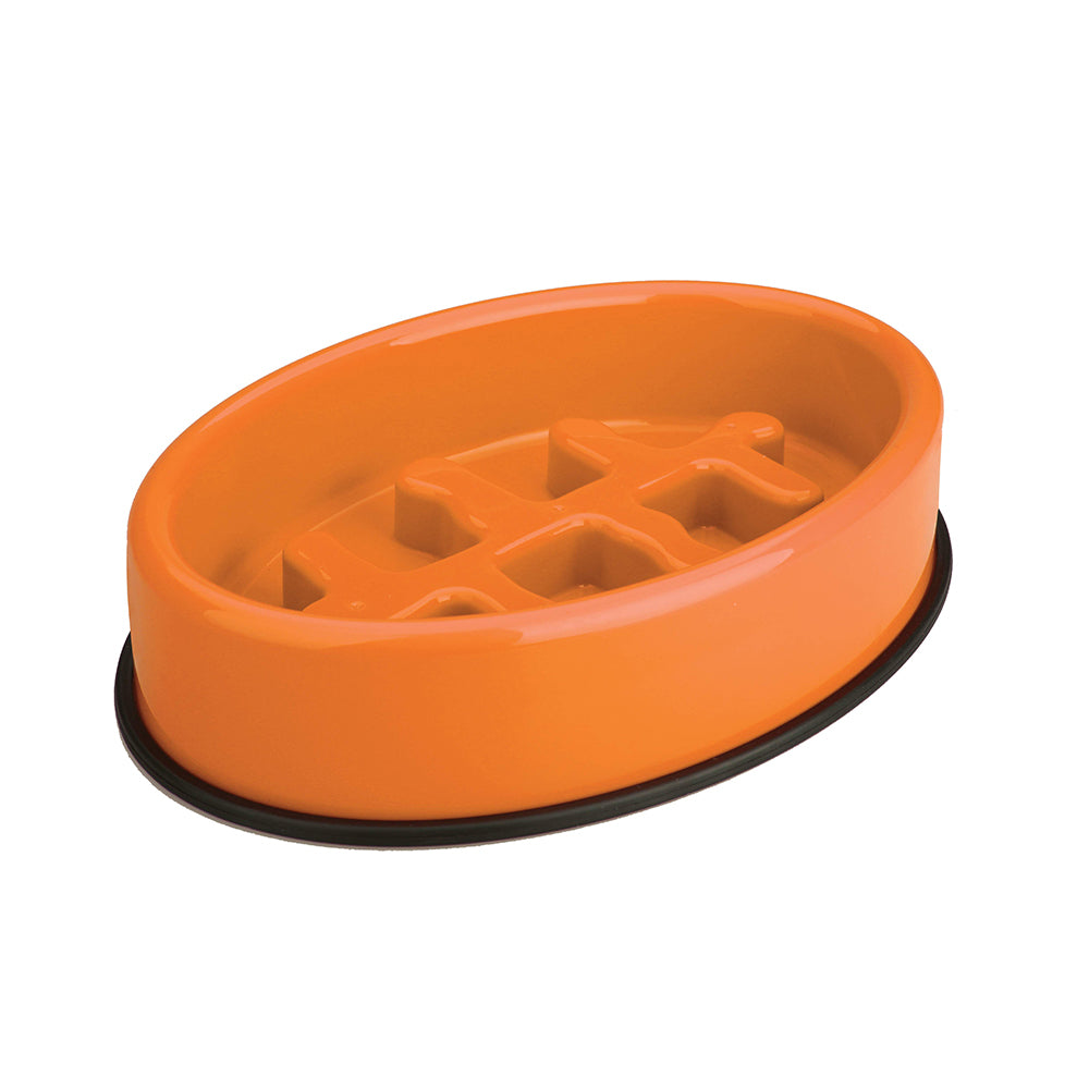 Fishbone Slow Feeding Bowl Orange