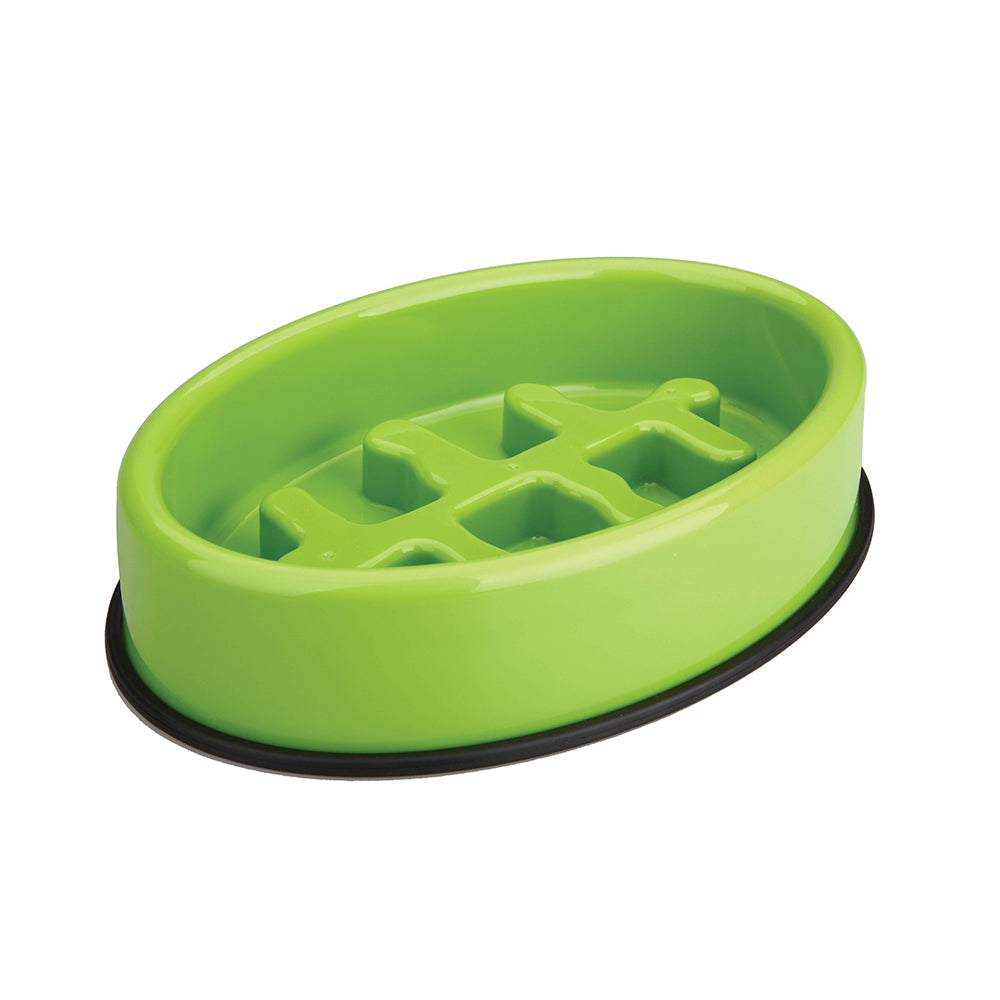 Fishbone Slow Feeding Bowl Light Green