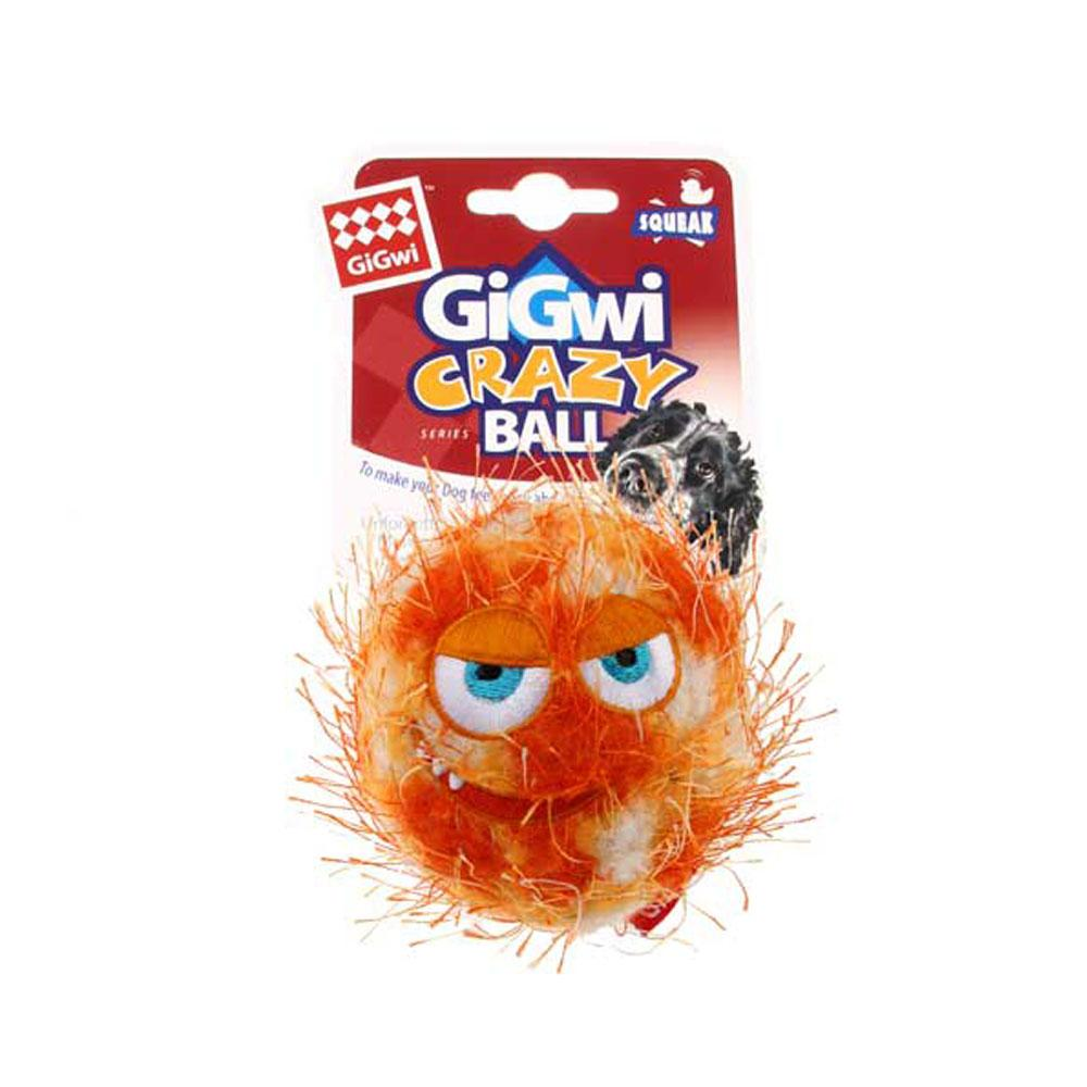 'GiGwi Crazy Ball' with foam rubber ball and squeaker Medium- (Orange)