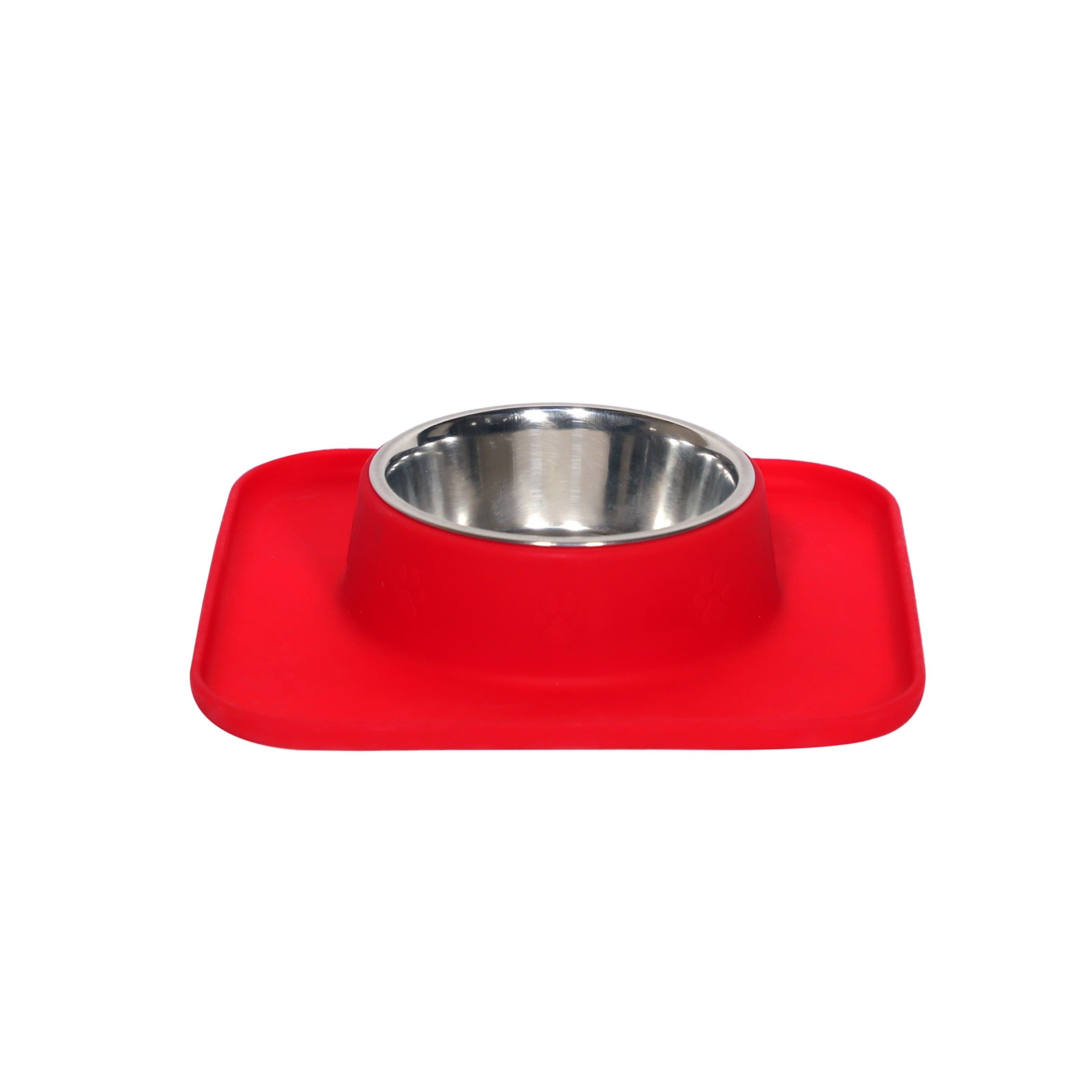 Square Silicon with Stainless Steel Pet Bowl- Red