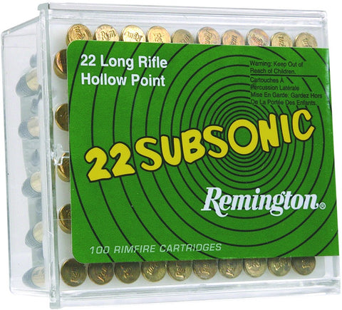 Subsonic Rifle Ammo 22 LR, HP, 38 Grains, 1050 fps, 50 Rounds, Boxed