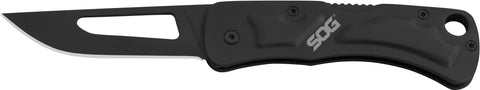 "Centi II Folding Knife, 2.1"" Black Drop Point Stainless Blade, Black Handle, Clam"