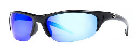 Bermuda Sunglasses Shiny Black Frame/Blue Mirror Lens 66mm Lens