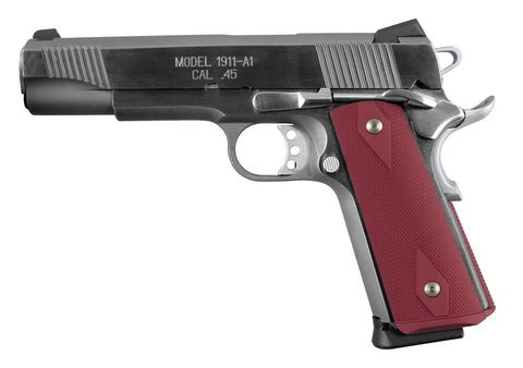 1911 Govt. Aluminum Magrip Kit - Checkered Flat Mainspring, Matte Red Anodize