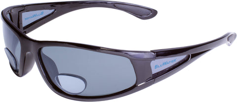 Polarized Bifocal 3 Sunglasses, 1.5 Magnification, Matte Black Frame, Gray Lenses