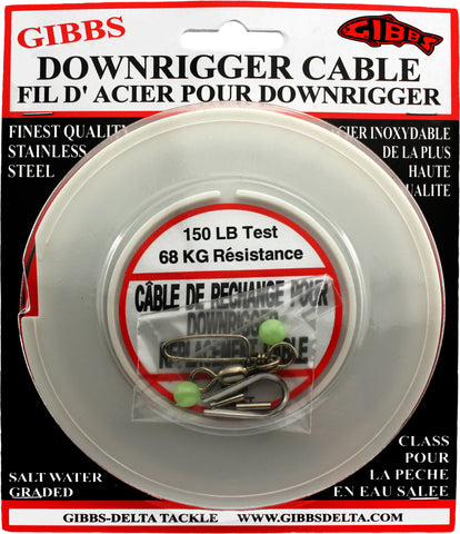 Downrigger Cable - 400 ft, 150 lb, 122 m, 68 kg, Standard Stainless 1x7