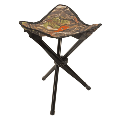 "3 Legged Camo Stool, Capacity 300 lbs, 17"" Height, 14"" Seat, Shoulder Strap"