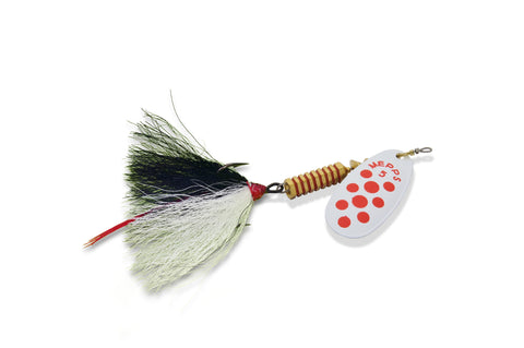 Comet Longtail Spinner, 1/8 oz, Treble Hook, Chartreuse/Red Dots