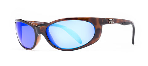 Smoker Sunglasses Shiny Black/Blue Mirror 60mm Lens