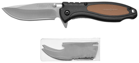 "Tiger Sharp Titanium Bonded 7.25"" Folding Knife, 2.85"" Blade, 1 Straight & 1 Serrated Replacement Blade"