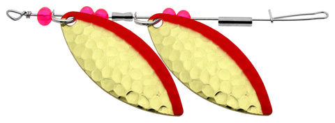 "Willow Leaf Double In-Line Spinner, 1-3/4"", Ham Brs Red Stripe w/Red Beads"