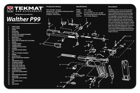 "Gun Cleaning Mat, 11""x17"", Walther P99"