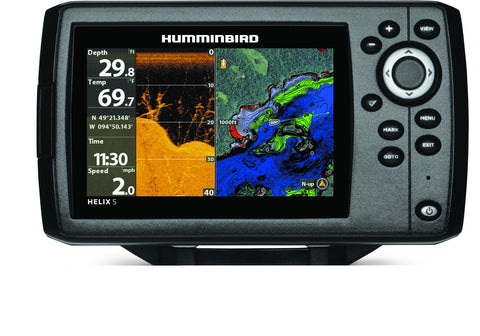 "Helix 5 Chirp Sonar/GPS G2, 5"" Color Display, DualBeam PLUS, Built-in UniMap Cartography"