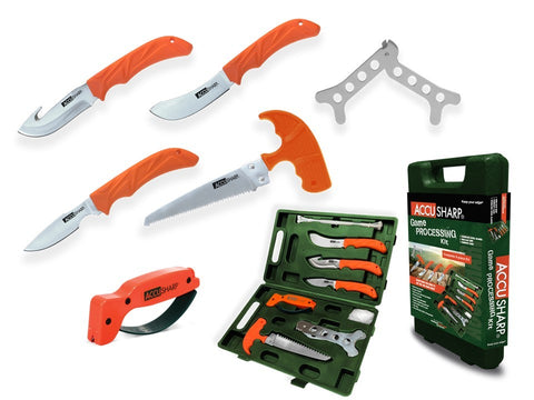 9-Piece Game Processing Kit, 3 Knives, Saw, Rib Spreader, Zip Ties, Rubber Gloves and Accu-Sharp Sharpner