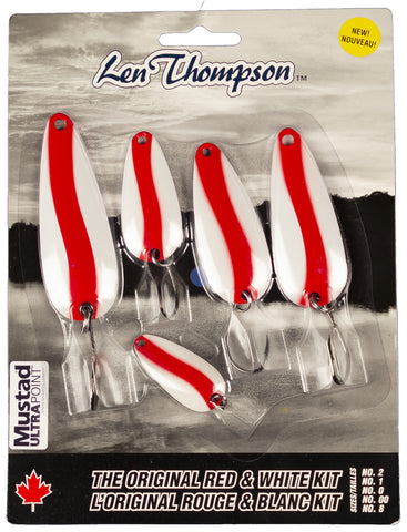 Original Series Spoon 5 Piece Red & White Kit - 1 oz; 3/4 oz; 5/8 oz; 1/2 oz; 1/4 oz - Single Hooks