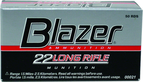 Blazer Rimfire Ammo 22 LR, LRN, 40 Grains, 1235 fps, 50 Rounds, Boxed