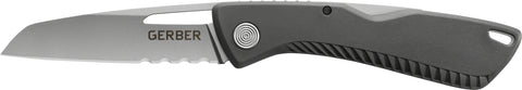"Sharkbelly Folding Knife, Gray Sharkskin Grip, 3.25"" Partially Serrated Drop Point Blade, Scratch Resistant Pocket Clip, Clam"