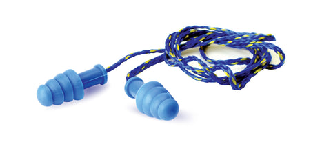1 Pair Blue Corded Earplug With Blue/Yellow Cord