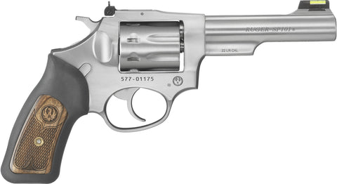 SP101 Revolver 22 LR, 4.2 in, Rubber Engraved Wood Grp, 8 Rnd, Std Satin Stainless Frame, Combat Trgr