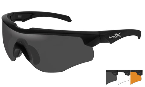WX ROGUE Shooting Glasses - 3 Lenses Smoke Grey - Clear - Rust/Matte Black Frame w/comm temples
