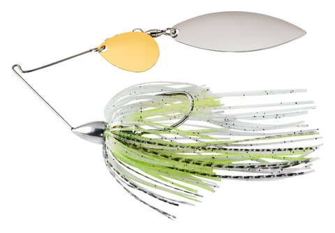 "War Eagle Nickel Frame Tandem Willow Spinnerbait 1/2"" White Silver"