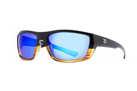 Shock Wave Sunglasses Tortoise Frame Blue Mirror Lens 59mm Lens