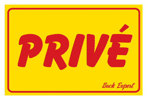 "Signs, Prive, French, 8""x12"", Yellow w/ Red ink"