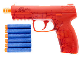 Rekt Opsix CO2 powered foam dart pistol launcher, Orange, up to 90ft dart distance, works with most darts, 85FPS