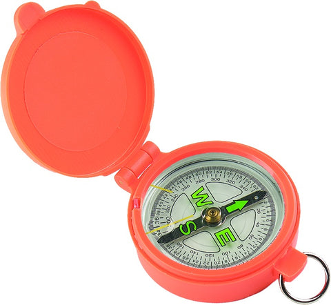 Pocket Compass W/Lid, Orange