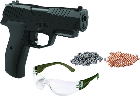 Iceman CO2 Powered BB/Pellet Pistol Kit, 100 BBs, 100 Pellets & Safety Glasses, BB 435 FPS .177 Pellets 400 fps