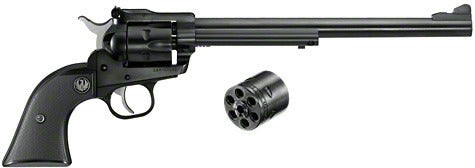 Single-Six Convertible Revolver 22LR/22WMR, 9.5 in, Checkered Hard Rubber Grp, 6 Rnd, Std Blued Frame, Std Trgr
