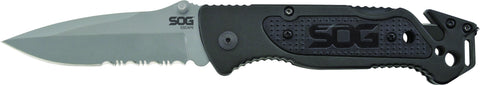 "Escape Bead Blasted Folding Knife, 3.4"" Partially Serrated Clip Point Blade, Clam"