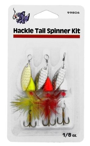 Hackle Tail Spinner Kit, 1/8 oz, 3/Pack