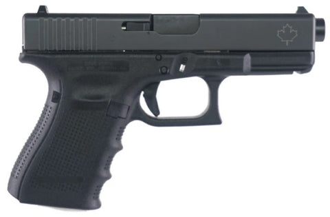 "G19 Gen4 Semi-Auto Pistol, 9MM, 4.17"" Bbl , 10+1 Rnd, 3 Mags, Fixed Sights, Maple Leaf Engraved Slide"