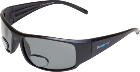Polarized Bifocal 1 Sunglasses, 1.5 Magnification, Matte Black Frame, Gray Lenses