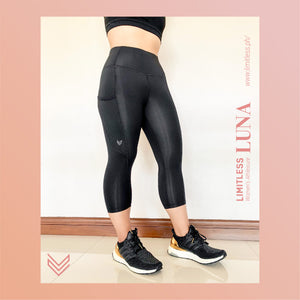 LUCY 3/4 High-Waist Pocket Yoga Pants [Black]