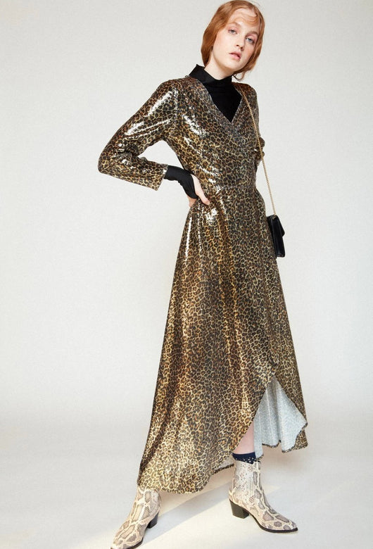 CALU LEOPARD SEQUINS DRESS
