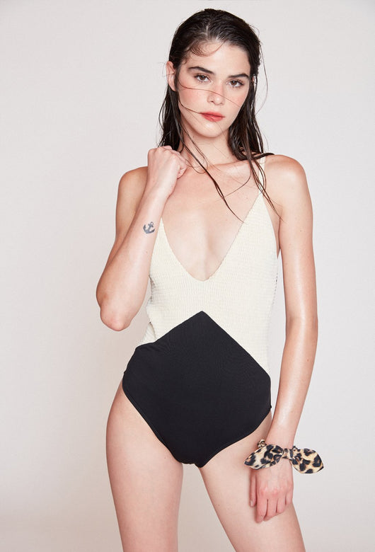 BEE BEIGE & BLACK SWIMSUIT