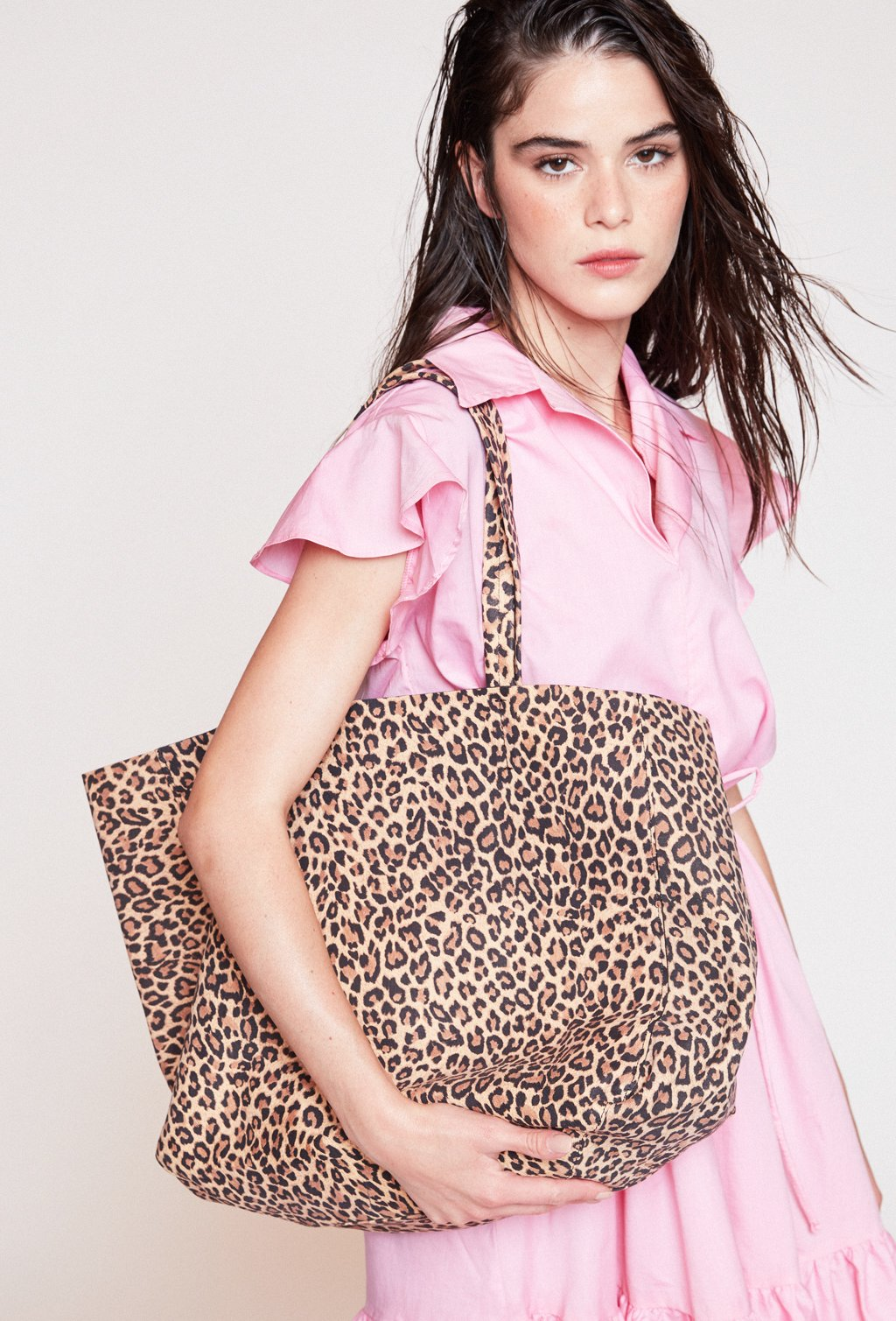 TOTE BRAVA LEATHER LEOPARD